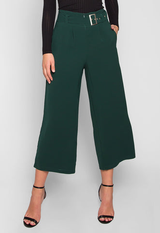 Barcelona Crop Wide Leg Belted Pants in Hunter Green