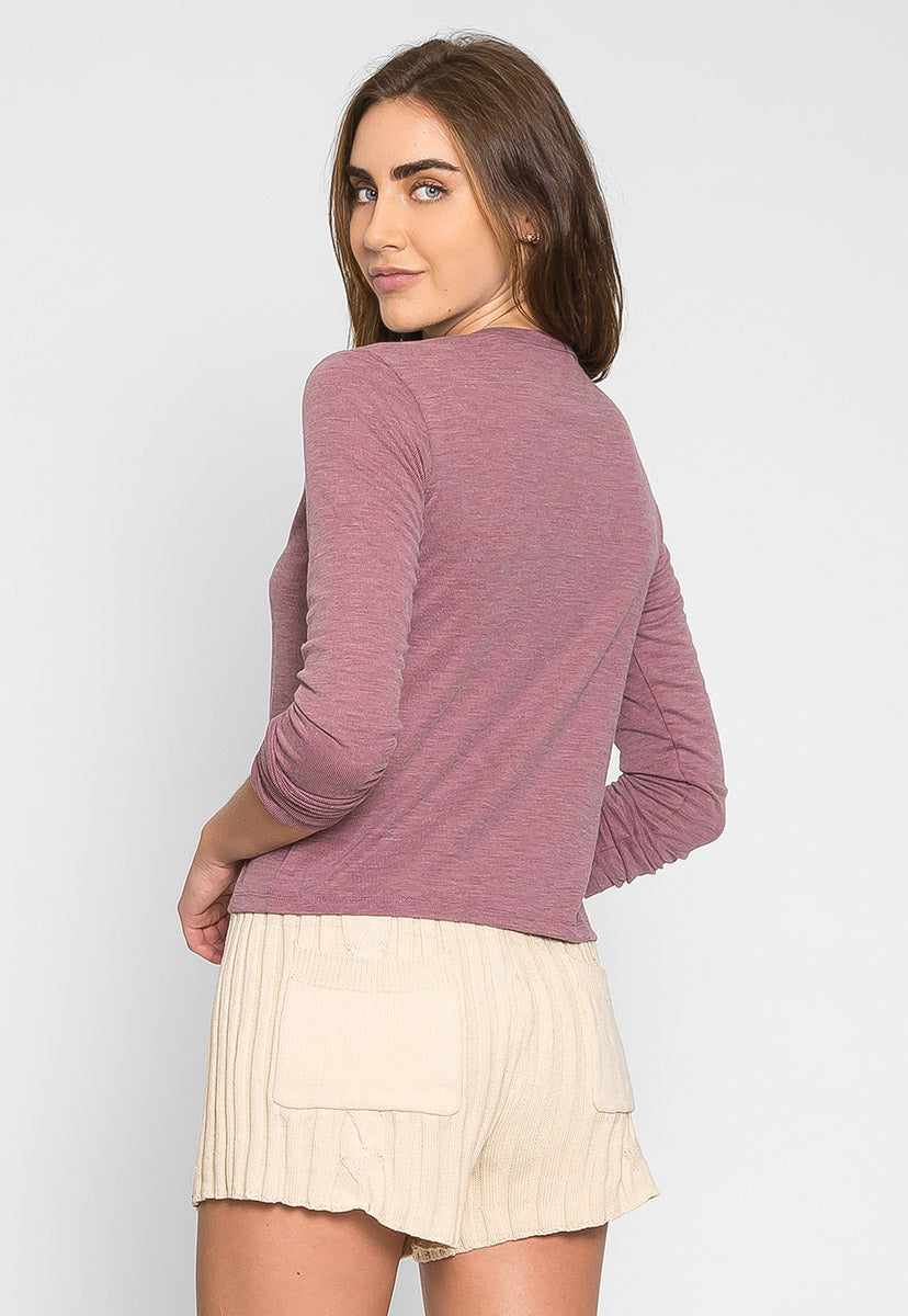 Heathered Henley Top in Purple - Shirts & Blouses - Wetseal