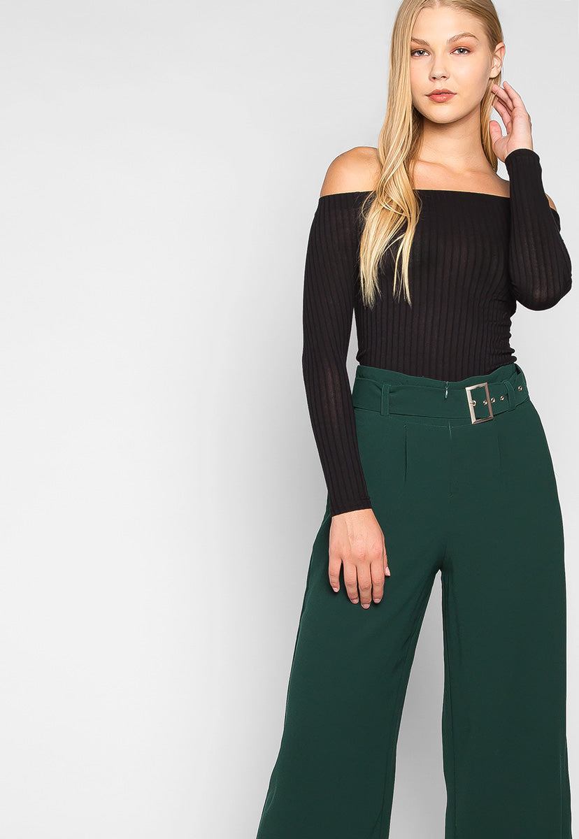 Barcelona Crop Wide Leg Belted Pants in Hunter Green - Pants - Wetseal