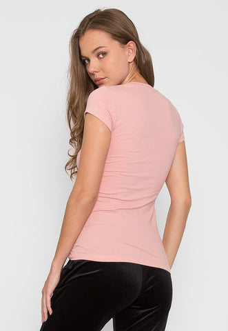 Chill V-Neck Basic Tee in Dusty Pink