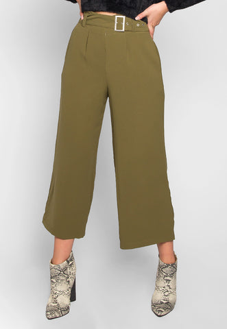 Barcelona Crop Wide Leg Belted Pants in Olive Green