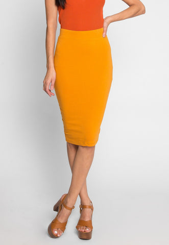 Totally Right Fitted Skirt in Mustard