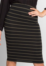 Lake Forest Stripe Skirt in Black