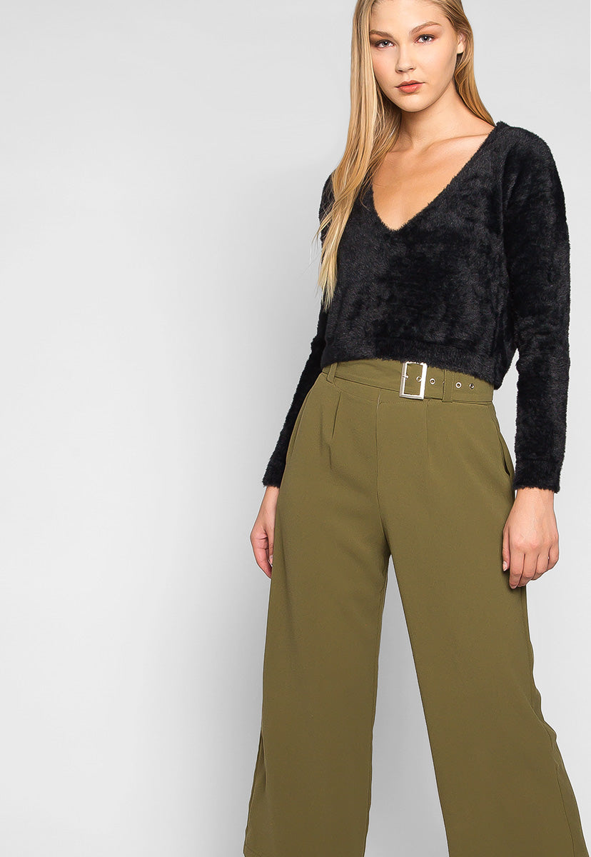 Barcelona Crop Wide Leg Belted Pants in Olive Green - Pants - Wetseal