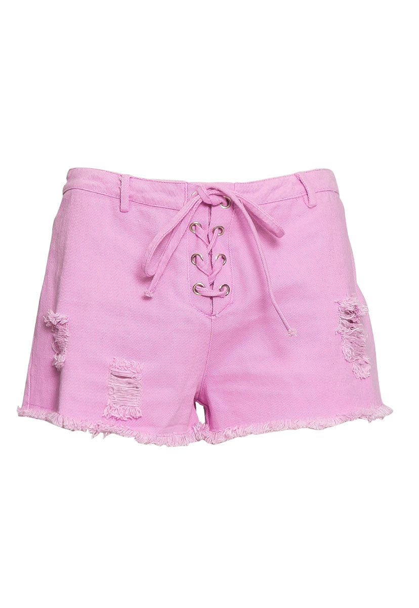 Violet Lace Up Distressed Shorts - Short - Wetseal