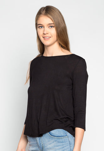 Popsicle Open Back Knit Top in Black