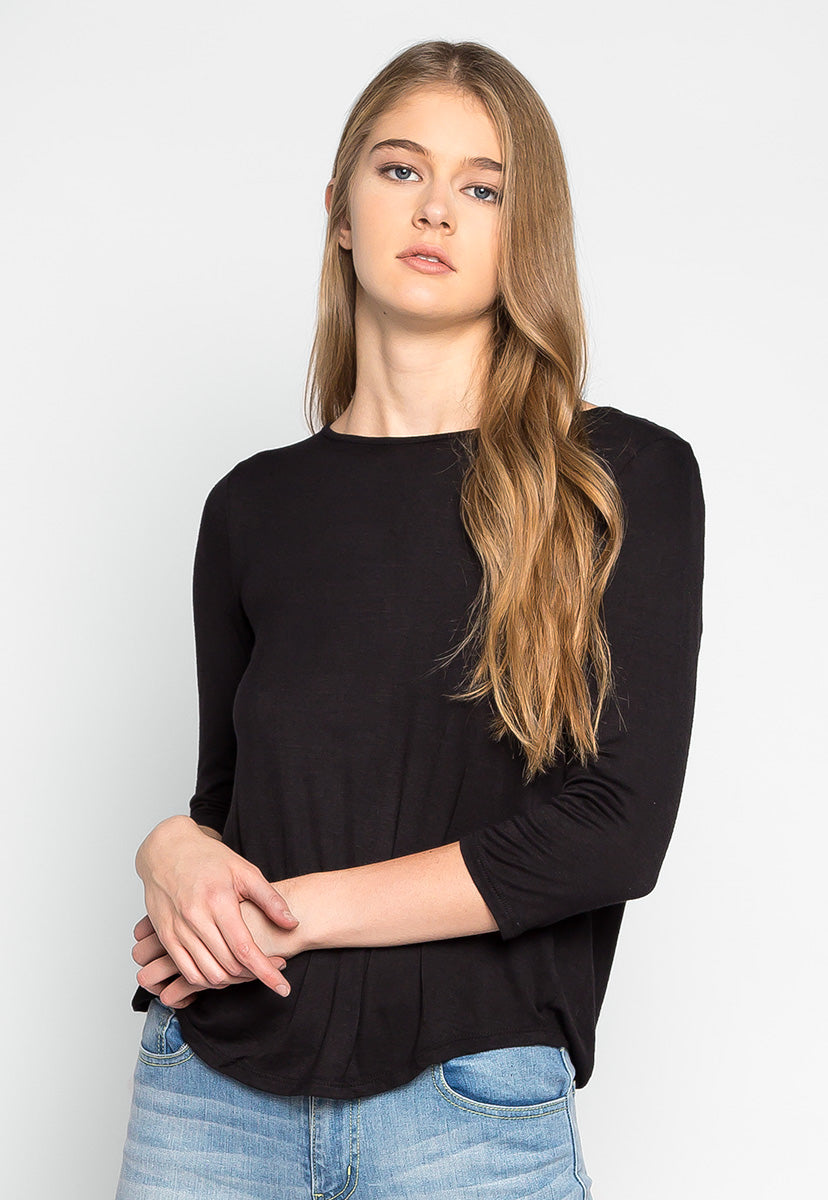 Popsicle Open Back Knit Top in Black - Shirts & Blouses - Wetseal