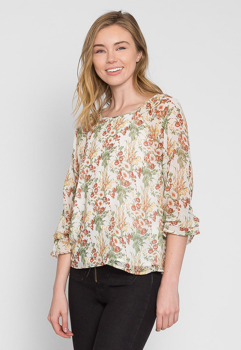 Sydney Floral Blouse in Cream - Shirts & Blouses - Wetseal