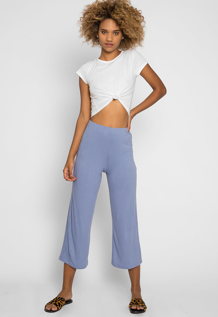 Day In Knit Pants in Light Blue - Pants - Wetseal