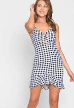 Rush Gingham Plaid Knit Dress in Navy
