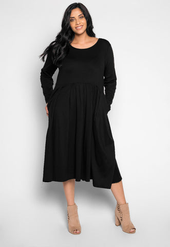 Plus Size Cherry Bomb Fit & Flare Dress in Black