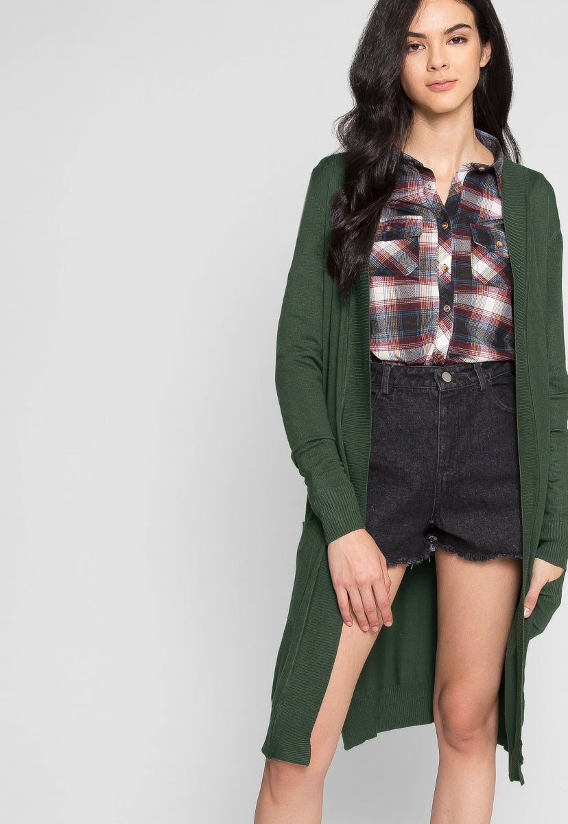 Study Break Duster Cardigan in Green - Sweaters & Sweatshirts - Wetseal
