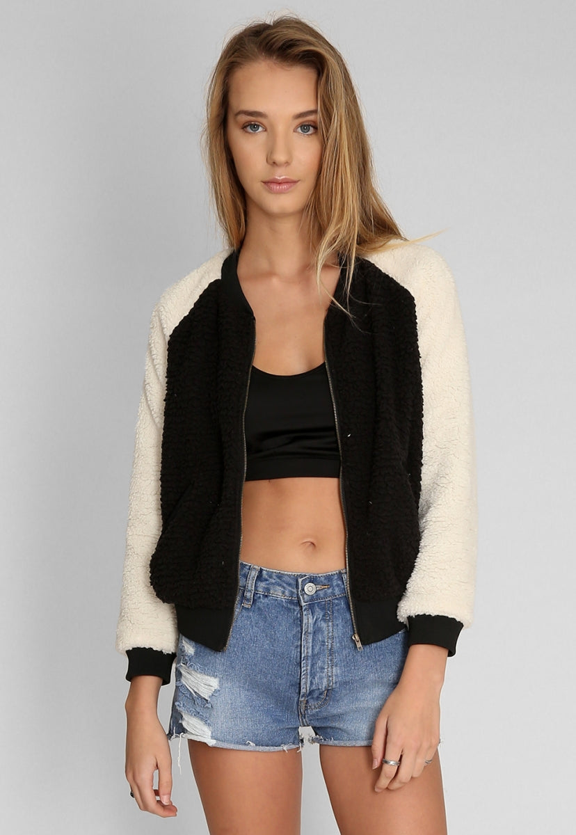 a816dbec230 Faux Sherpa Bomber Jacket in Black | Wet Seal