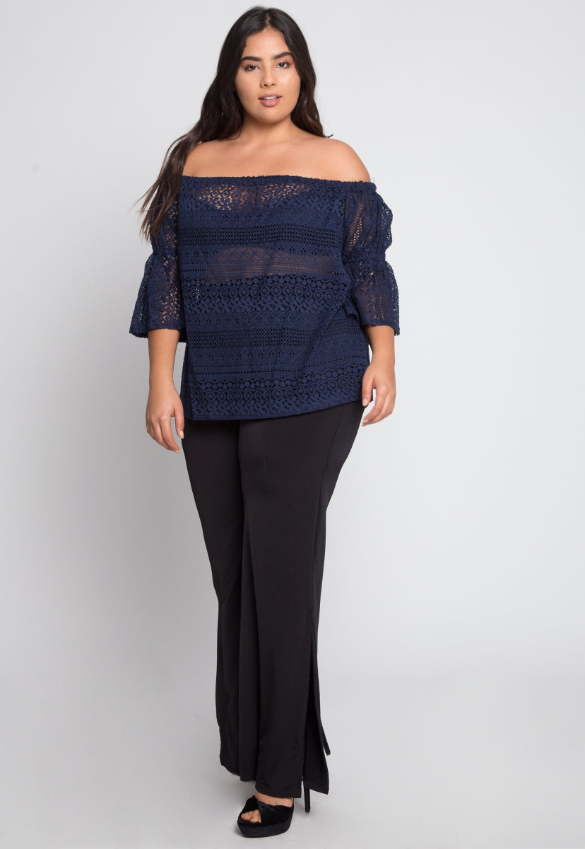 Plus Size Susie Off Shoulder Lace Top in Navy - Plus Tops - Wetseal