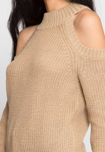 Frozen Cold Shoulder Sweater in Beige