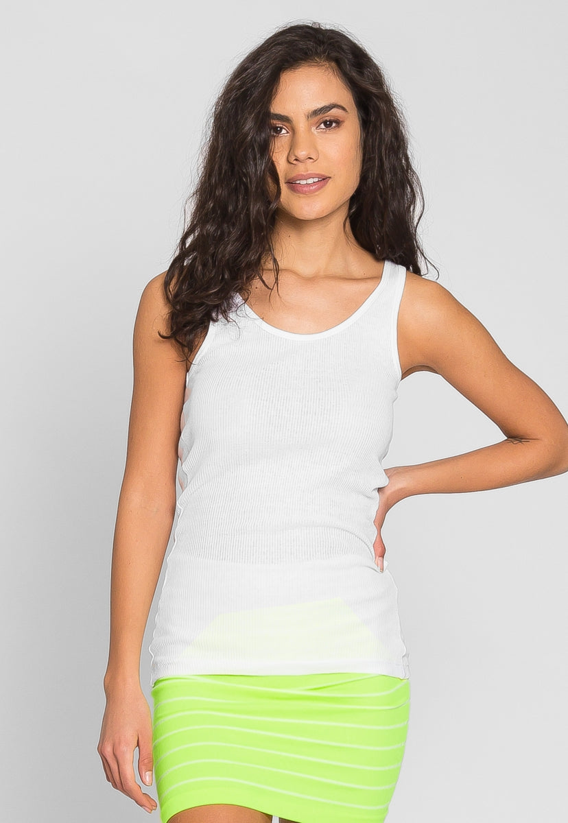 Riley Rib Knit Tank Top in White - Tanks - Wetseal