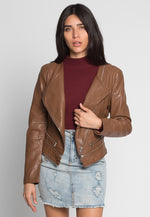 Topaz Zipper Detail Leather Moto Jacket