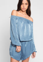 Malvern Satin Off Shoulder Romper in Blue