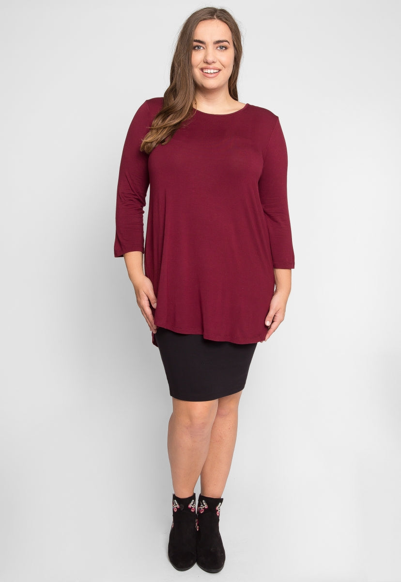 Plus Size Scoop Neck Top in Burgundy - Plus Tops - Wetseal