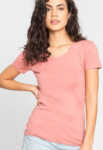 Essentials Scoop Neck Tee in Rose