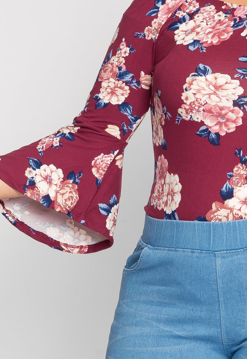 Plus Size Breeze Floral Bodysuit in Burgundy - Plus Tops - Wetseal