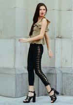 Side Lace Up Skinny Jeans in Black