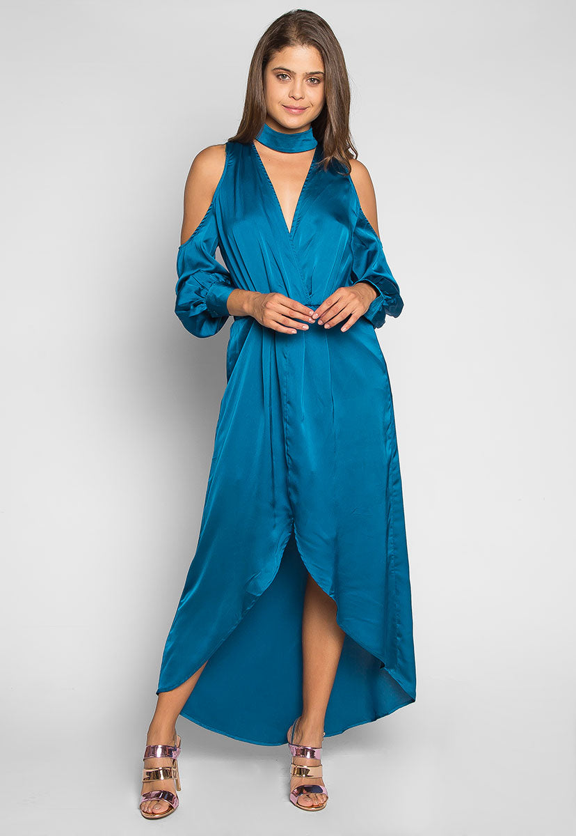 Always & Forever Satin Maxi Dress in Teal - Dresses - Wetseal