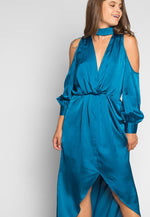 Always & Forever Satin Maxi Dress in Teal