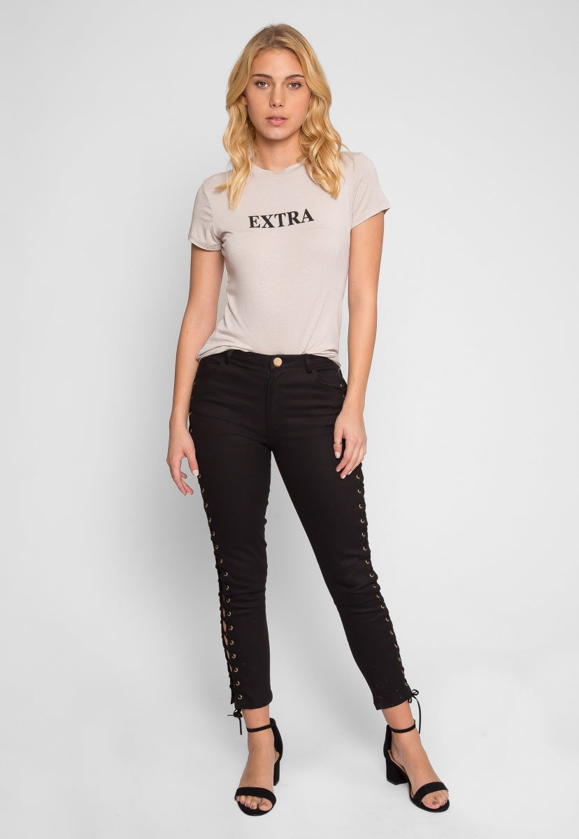Side Lace Up Skinny Jeans in Black - Jeans - Wetseal