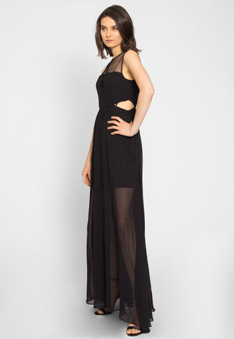 Shine Cut Out Chiffon Maxi Dress