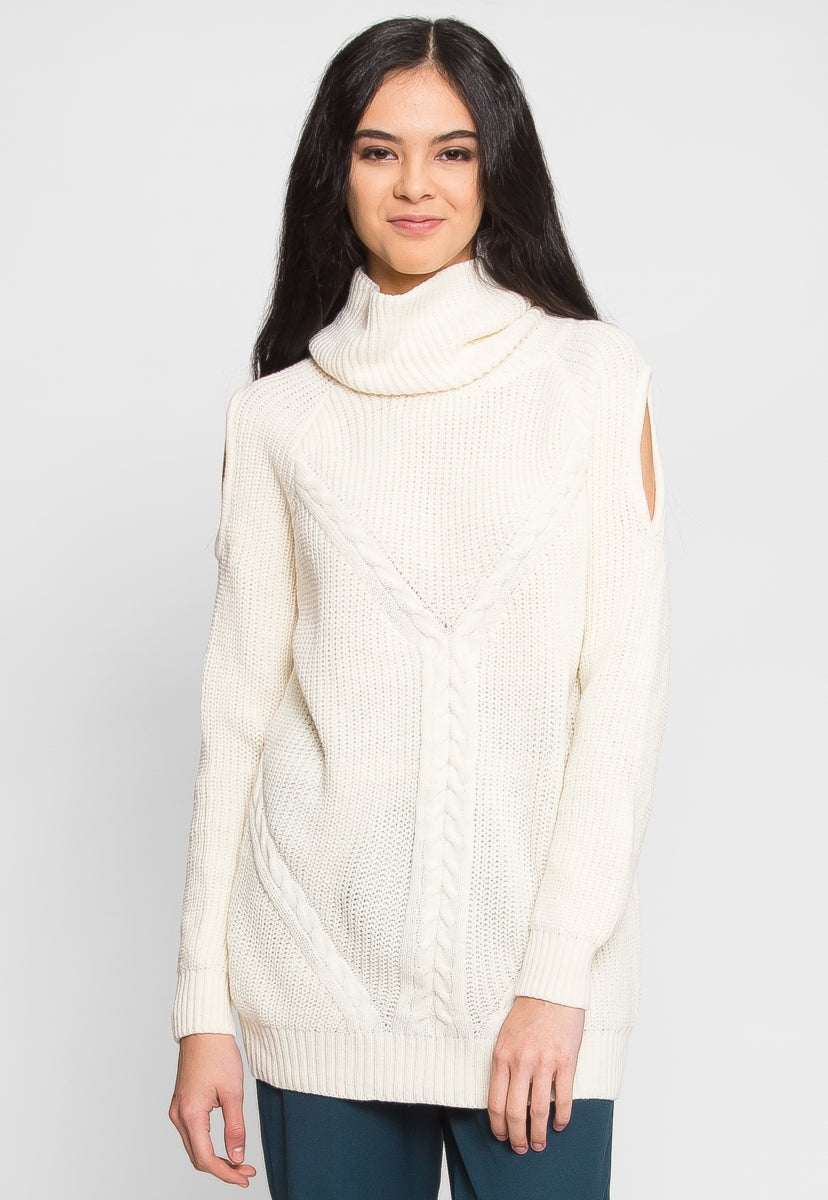 Whistler Cold Shoulder Turtleneck Sweater - Sweaters & Sweatshirts - Wetseal