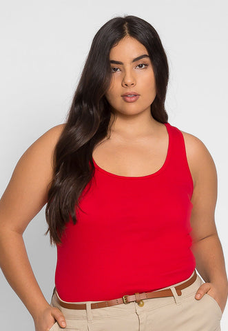 Plus Size Cali Basic Tank Top in Red