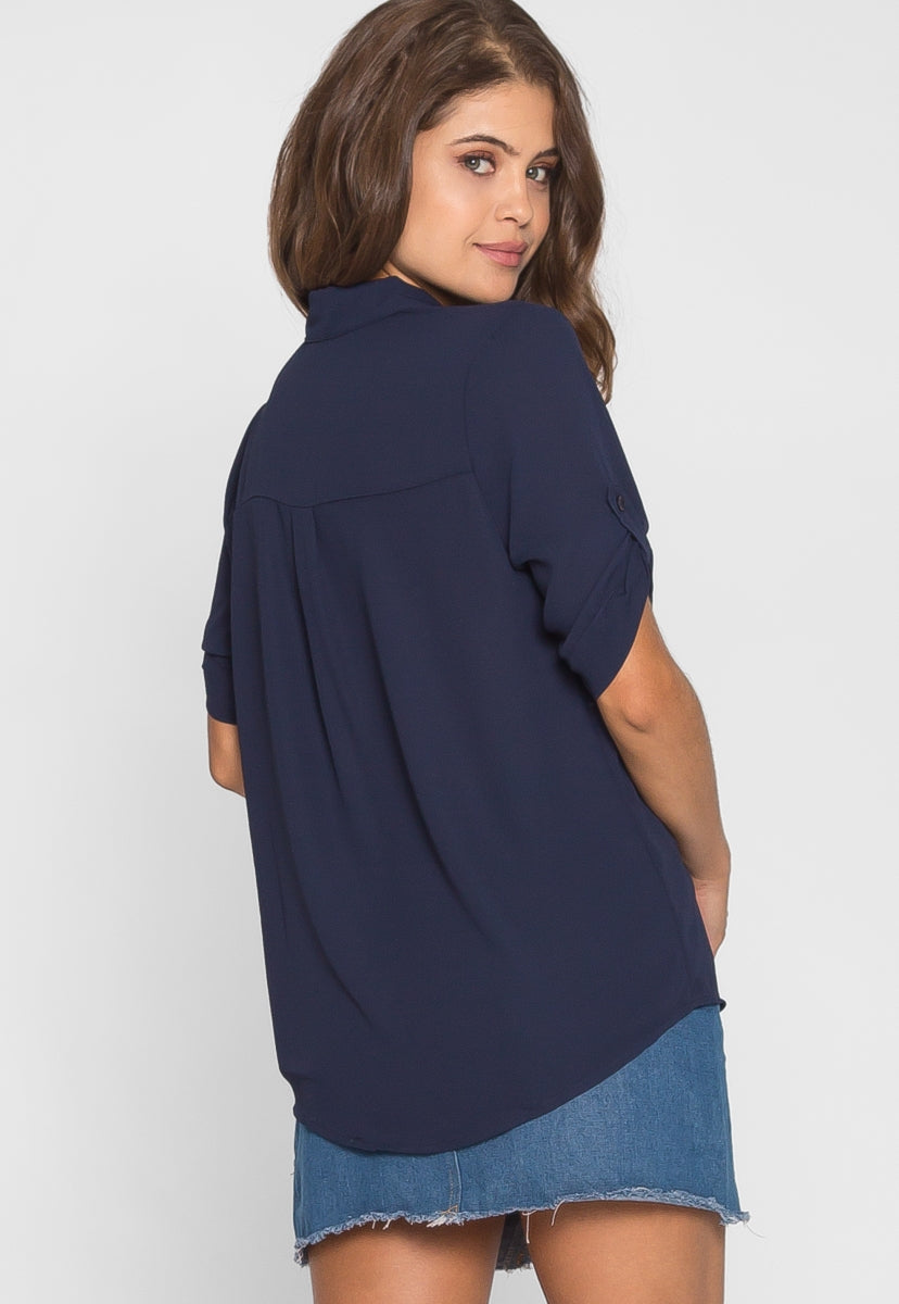 Short Sleeve Button Up Shirt in Navy - Shirts & Blouses - Wetseal