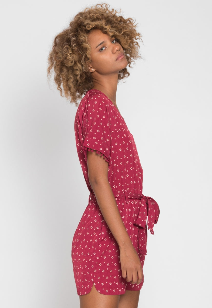 Printed Belted Romper - Rompers & Jumpsuits - Wetseal