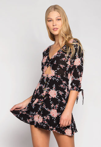 Free Soul Cut Out Floral Mini Dress