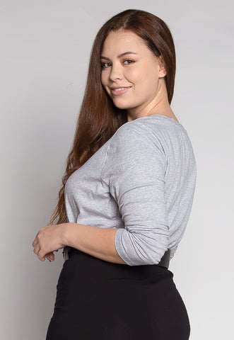 Plus Size V-Neck Long Sleeve Top in Gray