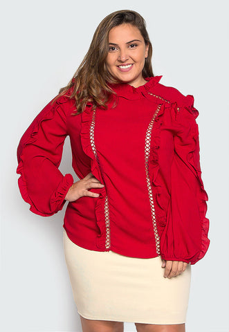Plus Size Love Sign Ruffle Trims Blouse
