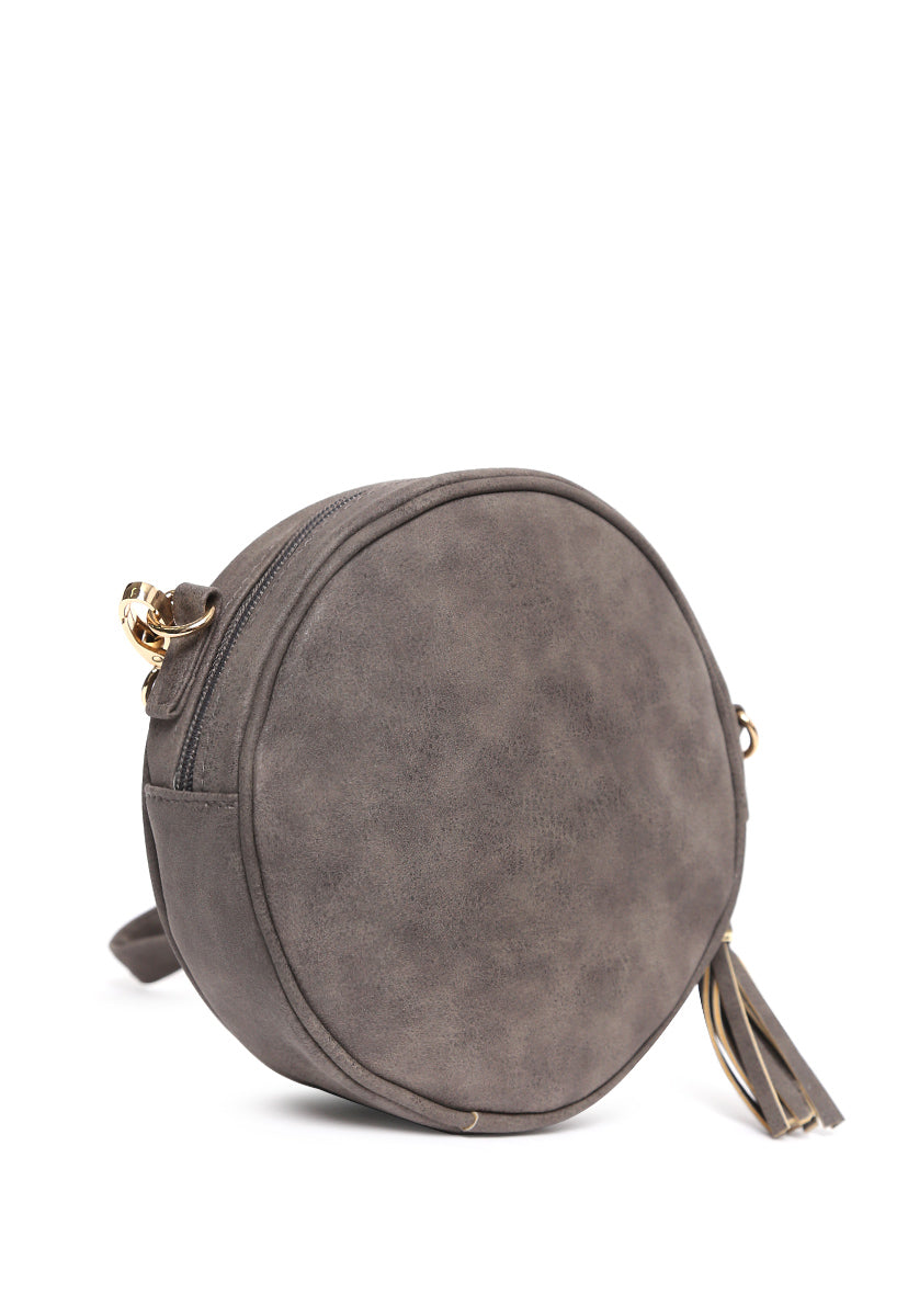 Floral Perforated Canteen Circle Bag in Gray - Bags - Wetseal