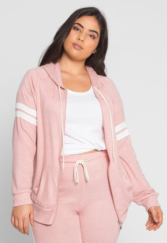 Plus Size Touchdown Zip Up Hoodie in Pink