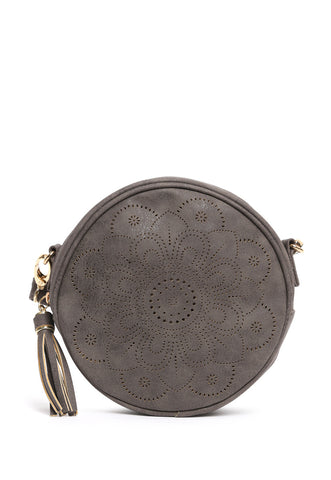 Floral Perforated Canteen Circle Bag in Gray