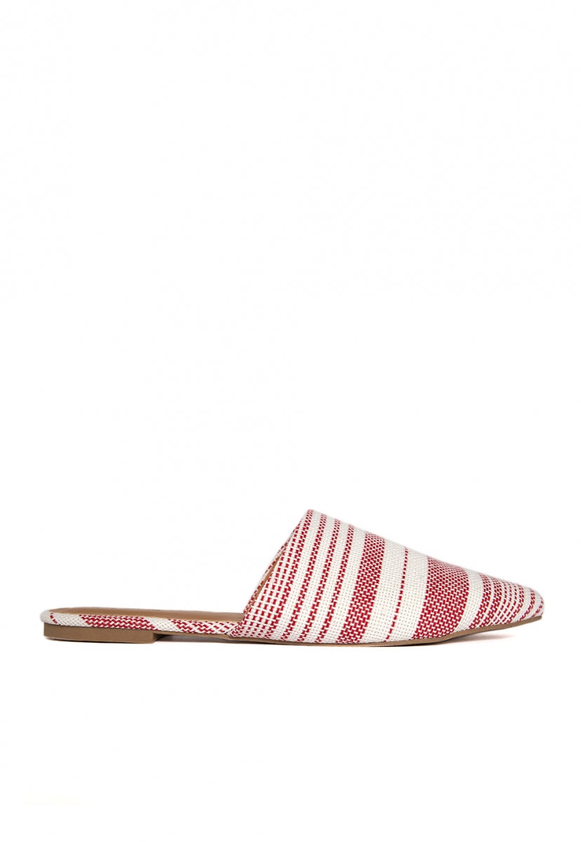 Stripe Lounge Mule Flats in Red - Shoes - Wetseal