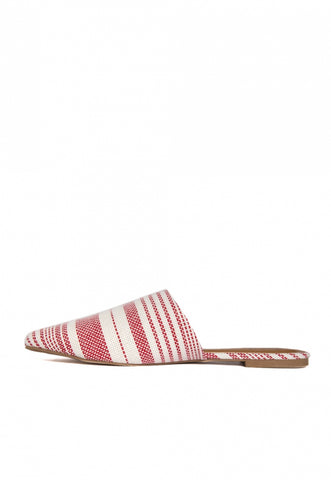 Stripe Lounge Mule Flats in Red