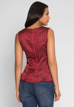 Bliss Printed Peplum Top in Burgundy
