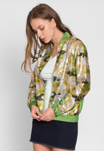 Never Ending Sequin Camo Jacket in Lime