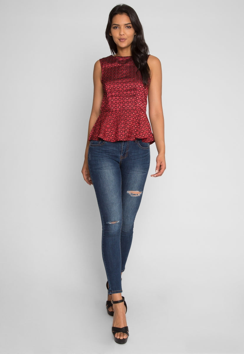 Bliss Printed Peplum Top in Burgundy - Shirts & Blouses - Wetseal