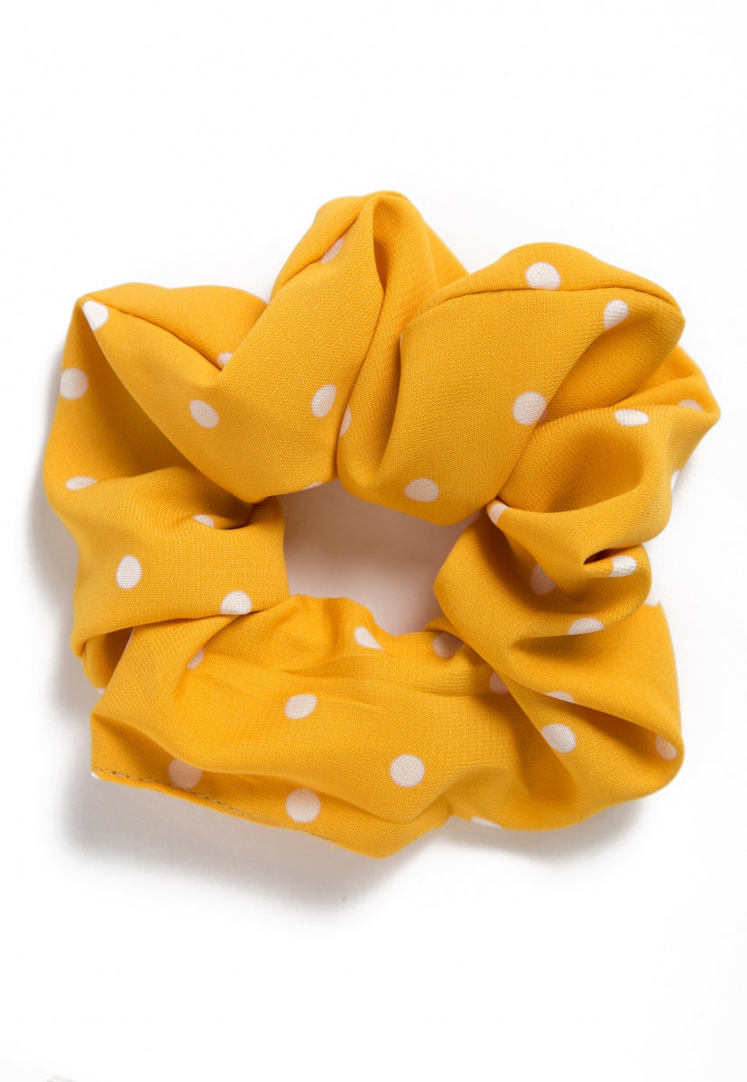 The Large Polka Dot Scrunchie in Yellow - Hat & Hair - Wetseal