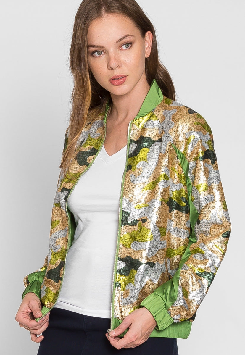Never Ending Sequin Camo Jacket in Lime - Jackets & Coats - Wetseal