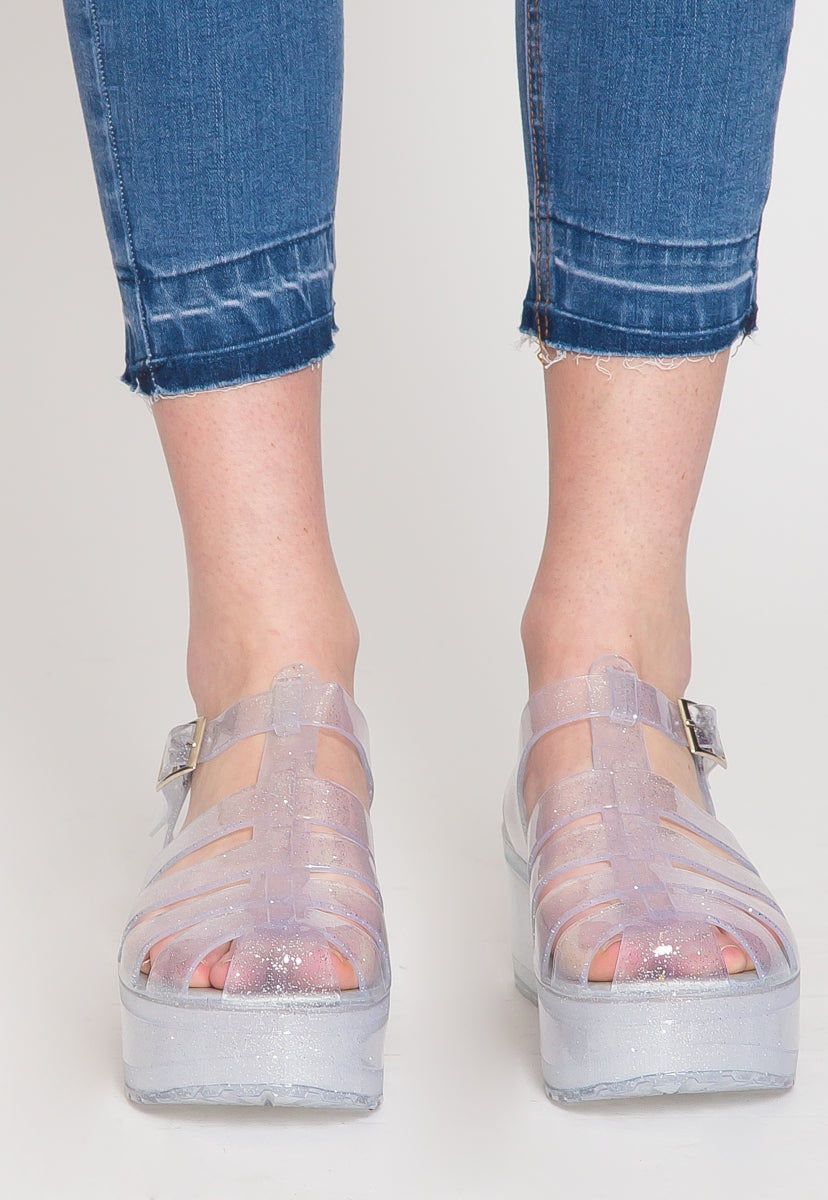 Throwback Babe Jelly Platform Sandals - Shoes - Wetseal