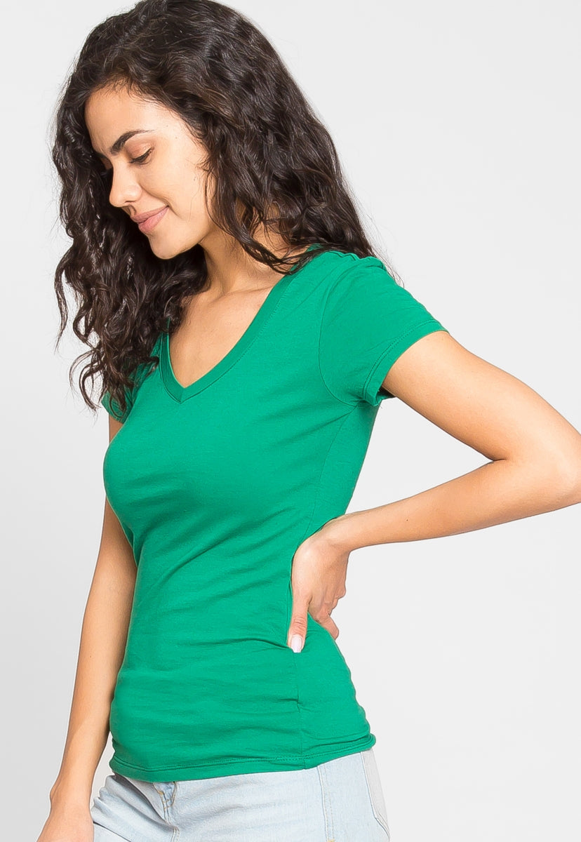 Olivia Fitted V-Neck Tee in Green - T-shirts - Wetseal