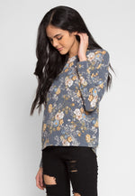 Solstice Floral Knit Top in Blue